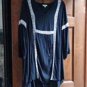 Bundle! Umgee Black Dress w/White Crochet detail L
